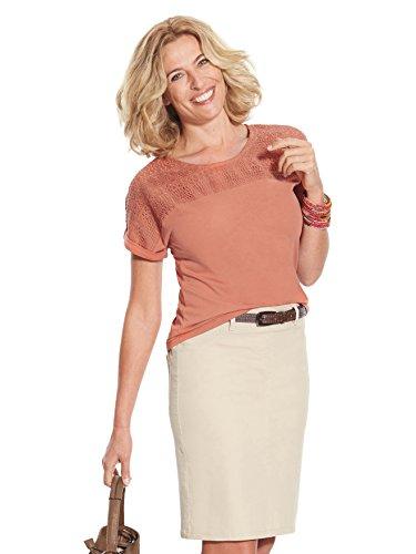 Balsamik - Tee-shirt, détails guipure - femme Orange