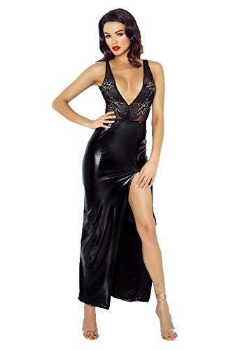 Langes Damen Desssou Maxi-Kleid aus Wetlook Material Dehnbar Fetisch Kleid mit Spitze und Tüll S
