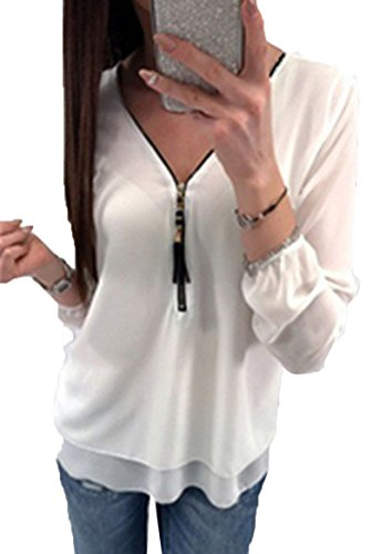 Flying Rabbit Damen Shirt Chiffon Bluse Langarmshirt mit Reißverschluss Vorne V-Ausschnitt Tops T-Shirt (S, Weiß) (Spandex T-shirt-shorts)