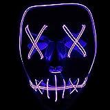 ToWinle Halloween Masken Festival Party Cosplay LED Leuchten Maske Karneval Maske Halloween Accessoires Grimasse Maske Batterie Angetrieben(Nicht Enthalten) (Lila)