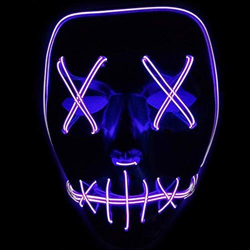 ToWinle Halloween Masken Festival Party Cosplay LED Leuchten Maske Karneval Maske Halloween Accessoires Grimasse Maske Batterie Angetrieben(Nicht Enthalten) (Lila) (England Cosplay Kostüm)