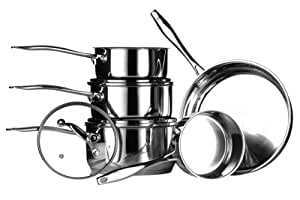 Premier Housewares Tenzo Batterie de cuisine 5 pièces Inox brillant Casseroles 14/16/18/20 cm et poêle 24 cm 0,6 mm