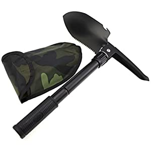 Multi Militär Schaufel Camping Folding Schaufel, Stahl Mini Schaufel Spitzhacke, Kompass, Flaschenöffner und Carry Pouch, Ideal für Outdoor, Camping, Survival und Jagd