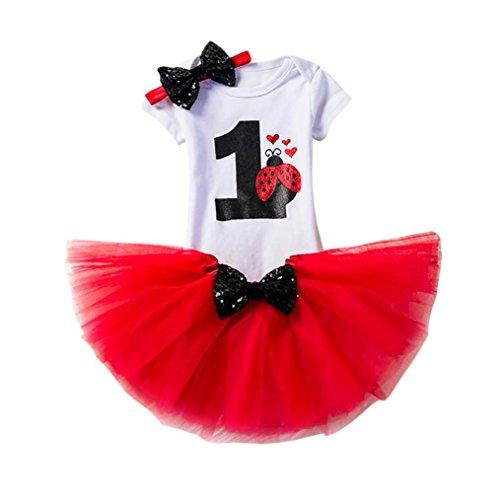Baby Kleid Huhu833 3 Stücke Baby Mädchen Geburtstag Cartoon Print Tutu Röcke + Overall + Stirnband Set Outfits (Rot, 12M) -