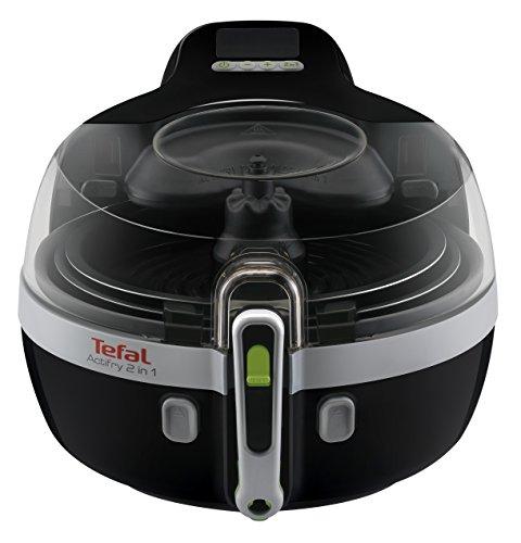 Tefal Actifry YV960120 Freidora sin aceite 2 en 1 para cocina sana, 2 zonas cocción, pantalla LCD digital, app recetas, capacidad 1,5 kg para 6 personas, incluye cuchara medidora de aceite y sal