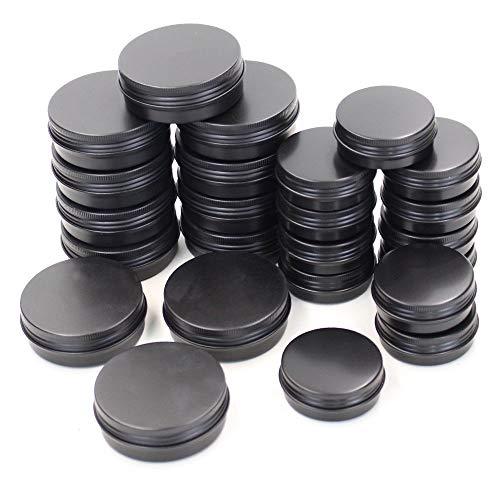 24 x schwarze runde Aluminium-Dosen mit Schraubdeckel, Metalldosen, leere Slide-Container, 60 ml + 30 ml (Food Container Mit Schraubdeckel)