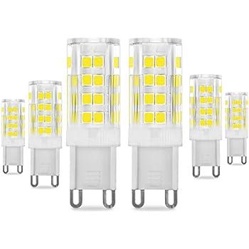 Bombillas LED G9 de 5W, Pursnic Equivalentes a Lámparas halógenas de 40W, 6000K G9 Lámparas LED Blanco Frio, 400LM, Ángulo de Haz de 360°, AC 220-240V, ...