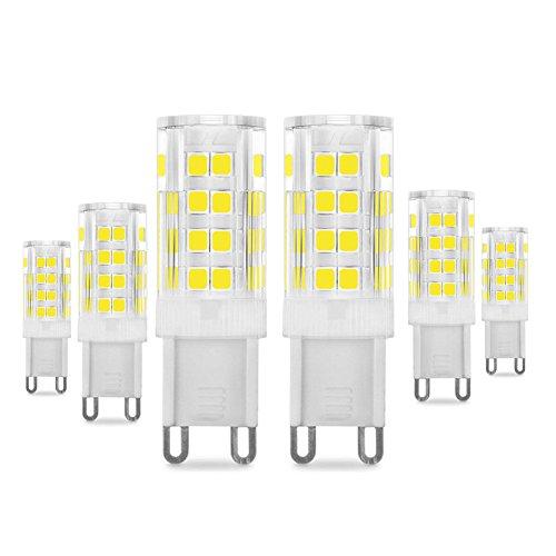 G9 5W LED Lampe 400 Lumen, 6000k Kaltweiß und Kein Flackern G9 LED Leuchtmittel Ersatz 40W G9 Halogenlampe, 360° Abstrahlwinkel,6er Pack