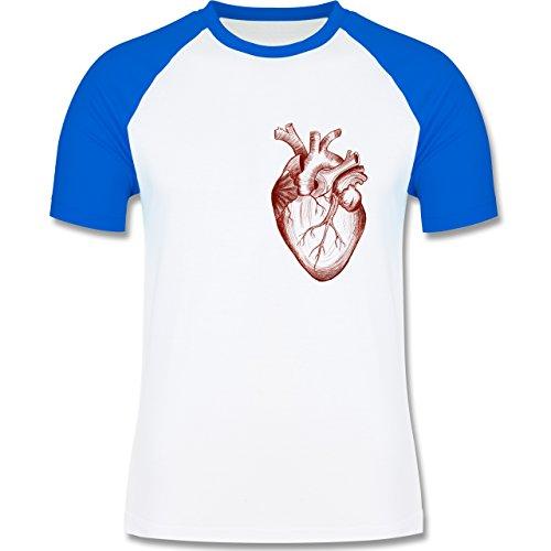 Nerds & Geeks - Herz Anatomie - zweifarbiges Baseballshirt für Männer Weiß/Royalblau