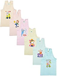 Kuchipoo Boys Vest Inner Wear- Pack of 6 (KUC-INN-918_3-4 Years_Multi-Colour_3-4 Years)