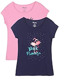 Honey by Pantaloons Women's Plain Regular Fit Top (1100226_Navy and Strawberry_Small)