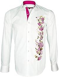 chemise brodee fox-rose blanc