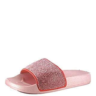 Ladies Girls Ella Diamante Fashion Sliders Open Toe Flat Slip On Sandals Mules Size 10-8 (UK 4, Pink)