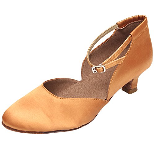 Azbro Women's Medium Heels Ankle Strap Soft Sole Waltz Dance Shoes Brown