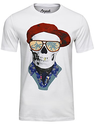 Jack & Jones Herren ORIGINALS T-Shirt FUNNY SKULL TEE in Schwarz, Grau und Weiß, Slim Fit Weiß ( white – slim fit )