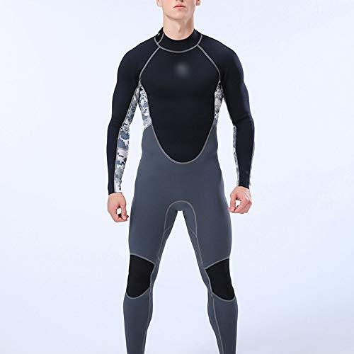 UICICI Été 2mm Siamois Costume de plongée Costume de Surf à Manches Longues pour Hommes à écran Solaire Chaud (Couleur : Gris, Size : XL)