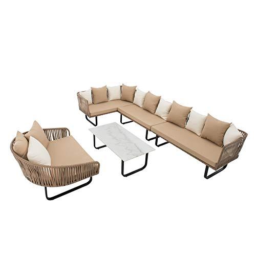 Ecke Ess-set (IHD Polyrattan Lounge Set beige, Schnurgeflecht in Seiloptik, 23-teilig, inklusive Tisch mit Platte in Marmoroptik)
