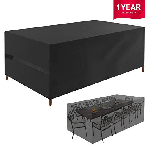 Favoto Abdeckung für Gartenmöbel Abdeckplane Gartentisch Schutzhülle für Tisch mit 12 Stühle Outdoor Wasserdicht 420D Oxford Gewebe Rechteckig Schwarz (315 x 160 x 74cm)