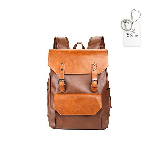 Yoome Vintage PU Leder College Bag Laptop Schule Bookbag Rucksack Reiserucksack für Damen & Herren (Rucksack Bookbag)