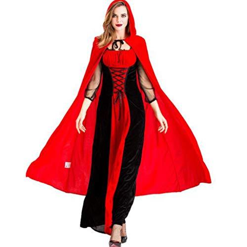 HZH Halloween-Vampir-Kostüme, einschließlich Langer Röcke, Umhänge, Rotkäppchen-Kostüme, Märchen von der Königin des Schlosses, Kostüme, Übergrößen,Rot,S