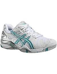 Asics - Zapatillas de tenis de poliéster para hombre verde verde (Sea Green) blanco blanco Talla:42 EU