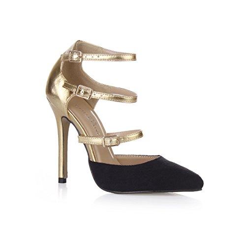 Klicken Sie auf Frauen Herbst Abend Bankett neuer Punkt Frauen Schuhe schwarz gold Schnalle die high-heel Schuhe, Schwarz + (High Green Schuhe Glitter Heel)