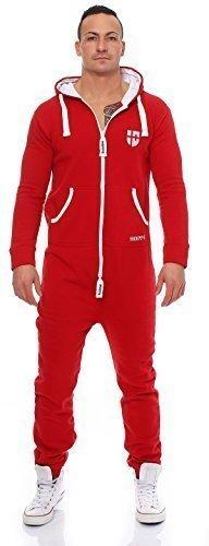 Gennadi Hoppe Herren Jumpsuit Onesie Jogger Einteiler Overall Jogging Anzug Trainingsanzug Slim Fit,rot,XX-Large