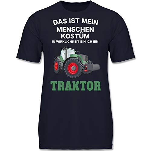 3 Passende Kostüm Menschen - Karneval & Fasching Kinder - Das ist Mein Menschen Kostüm in echt Bin ich EIN Traktor - 104 (3-4 Jahre) - Dunkelblau - F130K - Jungen Kinder T-Shirt