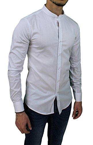 Camicia uomo slim fit bianca casual in cotone con colletto coreano (l)