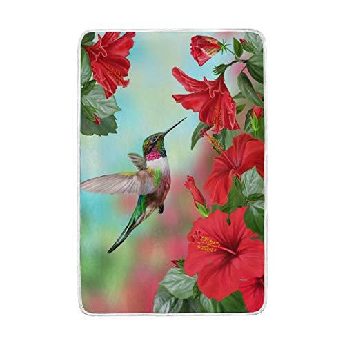 CPYang Tagesdecke mit tropischen Blumen, Kolibri, weich, warm, Mikrofaser, für Erwachsene, Mädchen, Jungen, 152 x 229 cm - Tagesdecke Mit