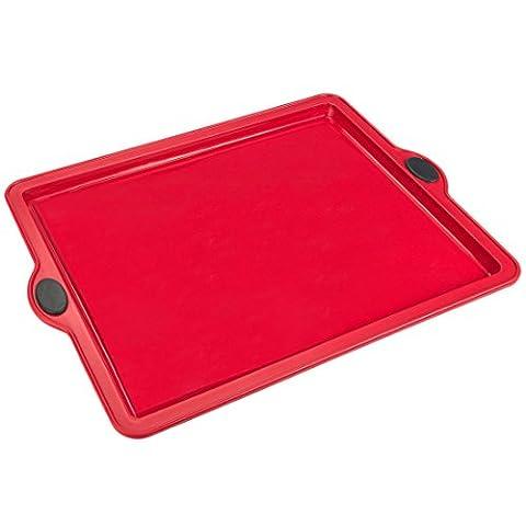 Levivo Moule à pâte à pizza/gâteau sur plaque / moule à pâtisserie en silicone 31.5x25.5cm, Rouge