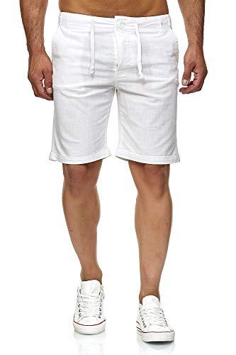 Reslad Leinenhose Kurze Hose Herren Leinen-Shorts lässige Männer Freizeithose Strandhose Stoffhose Sommer-Shorts RS-3002 Weiß L (Relaxed Fit-yoga-hosen)