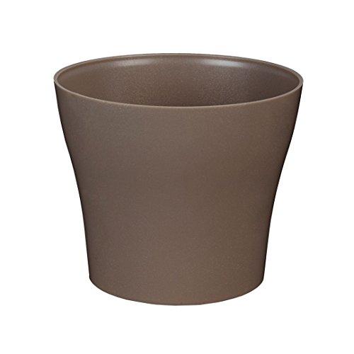 greemotion Pot de fleur rond 19cm Tulipan couleur taupe - Pot à fleurs élégant en plastique pour l'intérieur et l'extérieur - Pot de fleurs zen aux lignes modernes