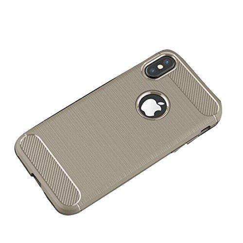 iPhone X Custodia, iPhone X Copertura, Nuovo design del materiale CF Ultra Durable Slim Protezione leggera Cover, Prova di polvere iPhone X Case - Grigio Grigio