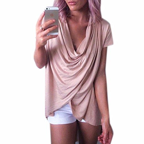 QIYUN.Z Art Und Weise Kurzhuelse V-Ausschnitt, Plissiert Frauen Khaki Unregelmaessigen T-Shirts Bluse Khaki