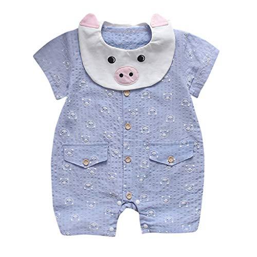 sunnymi  ® Sommer Neugeborenes Jungen Mädchen Kurzarm Overall Schwein Print Strampler - Schwein-schnuller