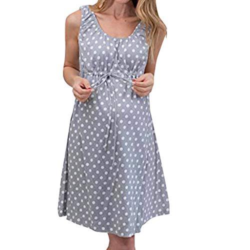 HWTOP Kleid Frauen Nachthemd Mutterschaft Sommerkleid Pflege Stillen Pyjamas Umstandsrock Midikleid