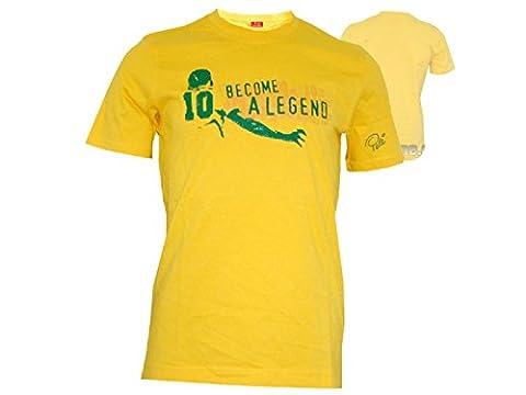 Puma t-shirt spécial collector pele motif coupe du monde de football 2014 brésil couleurs différentes - Jaune - Jaune, xl
