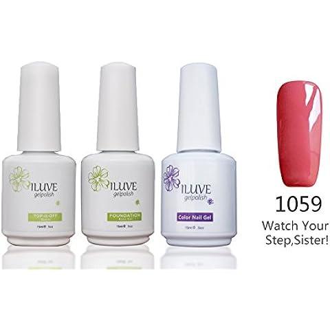 Smalti in Gel Base Set Top Coat - Semipermanente UV LED Smalto per Unghie | 3 Bottle Smalti ( con 238 Colori Scelte) , 15ml / per Bottiglia, #1059BT