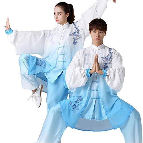 Tai Chi Uniform Damen Herren Bequem Atmungsaktiv Tai Chi Anzug Kampfsport Kleidung Kung FU Kleidung Seide Farbverlauf Gesticktes Licht Cool,Blue-L -