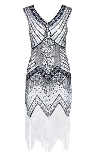BABEYOND Damen Flapper Kleider voller Pailletten Retro 1920er Jahre Stil V-Ausschnitt Great Gatsby Kostüm Kleid (Größe L, Silber)