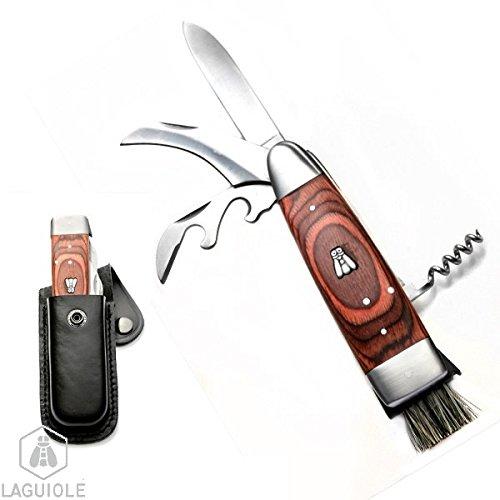 LAGUIOLE couteau à champignon dans son étui cuir noir. Le vrai couteau à champignons Laguiole, avec le luxe d'être multifonctions: lame à champignons (courbée), lame traditionnelle, brossette, tire bouchon et décapsuleur. Lame affûtable, lame spéciale tranchant pour une coupe nette. Son manche est en bois exotique. pratique et fonctionnel. Le cadeau idéal pour les passionnés !