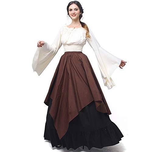 Abaowedding Damen Mittelalter Kleid Retro Renaissance Kostüme Irische Trompete Ärmel Rundhalsausschnitt Bauernkleid Langes Kleid - Braun - Medium -