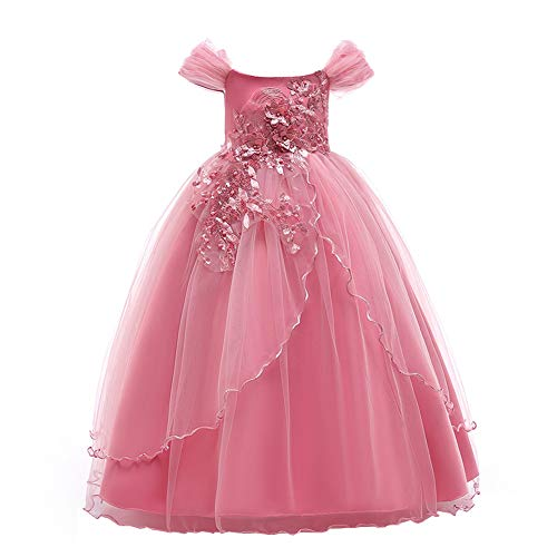 b240a8d2d09254 YFCH Bambina Ricamo Fiore Vestiti da Cerimonia Eleganti Senza Maniche  Matrimonio Partito Comunione Abiti Principesse Bimba