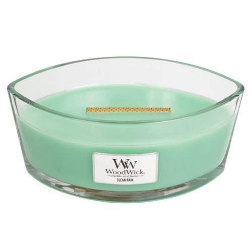 Woodwick 76098EU Reines Regen Duftkerze in Elliptischem Glasgefäß mit Heartwick Holzdocht 453.6 g, Glas, Türkis, 11.6 x 19.2 x 9.1 cm