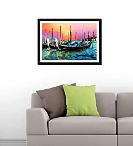 Tallenge - Gondolas Near The Grand Canal In Venice - Premium Quality Xlarge Size Ready To Hang Framed Digital Art Print On Photographic Paper (20x30 inches)