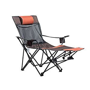 WUPO Outdoor Folding Chair Portable Recliner Beach Fishing Camping Chair - Home Siesta Lunch Break Oxford Cloth Bed Chair by WUPO