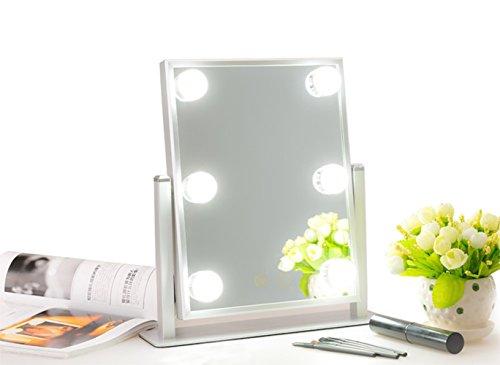 Mufly Hollywood Kosmetikspiegel Schminkspiegel mit LED Beleuchtung, Standspiegel Tischspiegel LED...