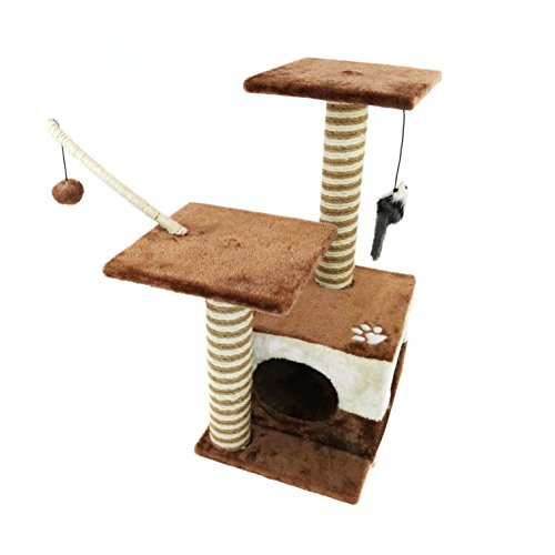 Oypla Cat Tree Scratch Post Activity Centre Bed Cave Kitten