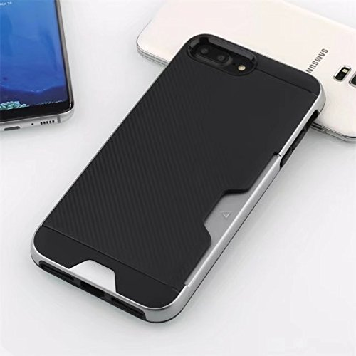 NEW SOFT CARBON TPU MOBILE CASE WITH CARD POCKET FOR APPLE IPHONE 7PLUS /IPHONE 8PLUS BLACK DARK GREY